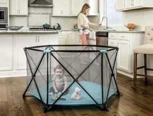 Regalo My Portable Play Yard Indoor and Outdoor, Bonus Kit, Includes Carry Case, Washable, Aqua, 6-Panel for Sale in Las Vegas, NV