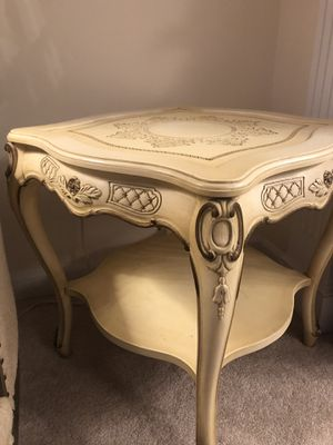 """SET OF TWO ""Beautiful Hand carved wood side table french style VERY ANTIQUE for Sale in Manassas, VA"