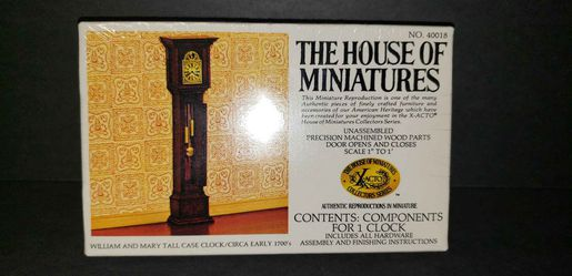 Vintage Doll House Furniture WILLIAM AND MARY TALL CASE CLOCK - New Old Stock for Sale in Lorain,  OH