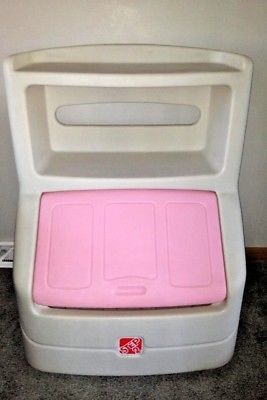 Step 2 Double Bookshelf Toy Box Chest Pink Lid toybox pastic for Sale in Elgin, IL