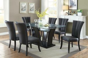 BLACK UPHOLSTERED PARSON DINING CHAIRS 7 PIECE DINING GLASS TOP TABLE SET for Sale in Riverside, CA