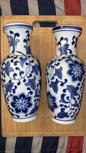 Blue and white ceramic flower vases for Sale in La Puente, CA