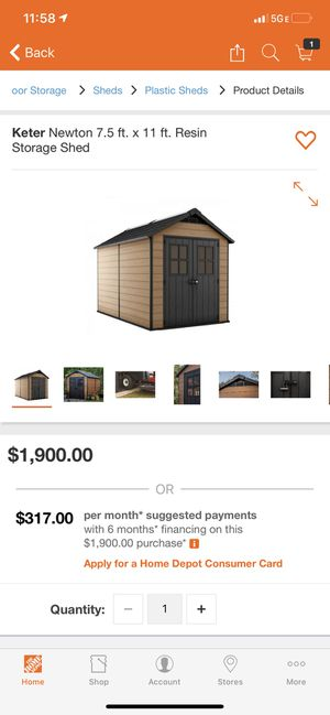 Keter Newton 7.5 ft. x 11 ft. Resin Storage Shed for Sale in Phoenix, AZ
