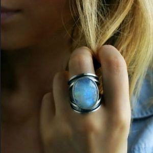 925 sterling silver natural gem rainbow moonstone gemstone ring. for Sale in Homestead, FL