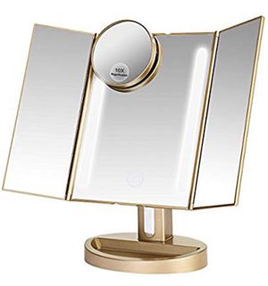Brand New In Box Makeup Mirror/Natural Daylight Lighted Vanity Mirror with Touch Screen Dimming, Detachable 10X Magnification Spot Mirror, Two Power for Sale in Hayward, CA