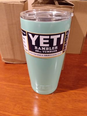 Yeti Coolers Custom Stainless Steel 20 Ounce Rambler Tumbler with Lid - PowderCoated Seafoam Green - Keeps Your Drink Hot or Cold for Hours for Sale in Long Beach, CA