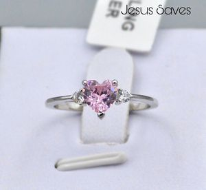S925 Pink Heart CZ Ring SRC-16679 Size 5/7/9 for Sale in Fresno, CA