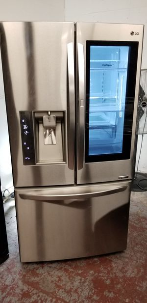 Lg refrigerator 3door with glass door stainless steel for Sale in San Antonio, TX