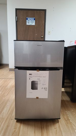 Amana 3.1 cu ft mini Refrigerator with Dual Door true freezer in stainless steel look 4 available for Sale in Arlington, TX
