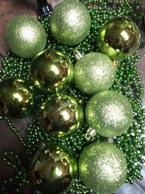 Green unbreakable ornaments and garland for Sale in Tacoma, WA