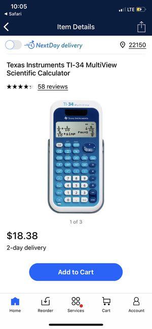 Texas Instruments TI-34 MultiView Scientific Calculator for Sale in Alexandria, VA