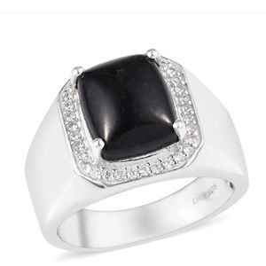 California Black Jade and Zircon Men's Ring in Platinum Over Sterling Silver (Size 13) for Sale in Round Rock, TX