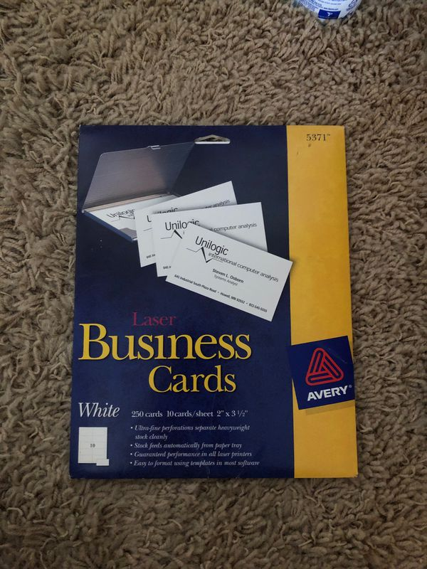"""New Laser Business Cards White 250 cards 10 cards/sheets 2"""" x 3.5"""""""