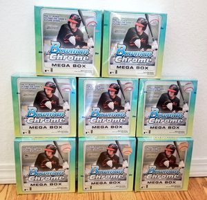 Topps 2020 Topps Bowman Chrome MLB Baseball Trading Cards Mega Box 8 INCLUDED NEW for Sale in Belle Isle, FL