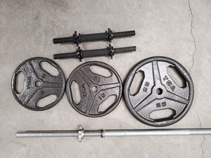 TSA weight set w/ barbell and dumbell grips for Sale in Albuquerque, NM