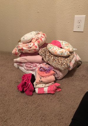 Brand new baby girl blankets neck pillow and accessories for Sale in Pasadena, TX