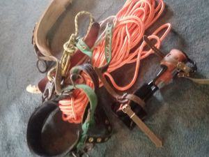Buckingham climbing gear 2 saddles 1 pair of spures 2 buck straps and a climbline and handsaw good condition for Sale in Mount Vernon, OH