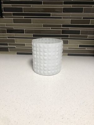 Modern Glass/White Candle Holder or For small plant for Sale in Los Angeles, CA