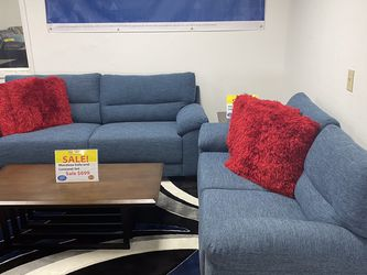 SALE!!! Mendoza Blue Fabric Sofa And Loveseat. No Credit Needed Financing. Same Day Delivery🚚 !!! for Sale in Tampa,  FL