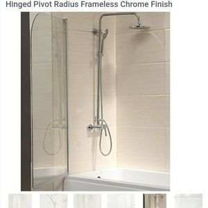 "Mecor 55""X31"" Bathtub Shower Door 1/4"" Clear Glass Hinged Pivot Radius Frameless Chrome Finish for Sale in Rosemead, CA"
