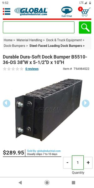 38 inch by 10 inch rubber dock bumper $50 each or two for $80 for Sale in North Kansas City, MO