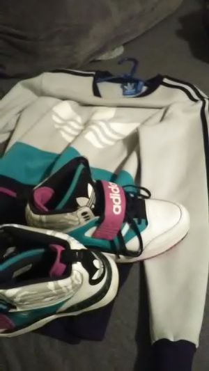 Adidas sweater medium,and matching Adidas sneakers 8.5 for Sale in Tucker, GA