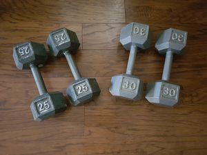 Cast iron hex dumbbells for Sale in Pensacola, FL