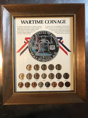 """UNITED STATES EMERGENCY WARTIME COINAGE COLLECTION FRAMED 10"""" By 12"""" W/GLASS for Sale in Revere, MA"""