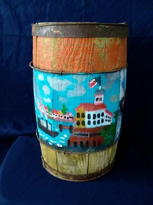 Old Wooden Nautical Painted Folk Art Barrel for Sale in Alton, ME
