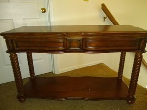 Homelegance Trammel Sofa Table with Drawers and Shelf, Mahogany for Sale in Hamilton, OH