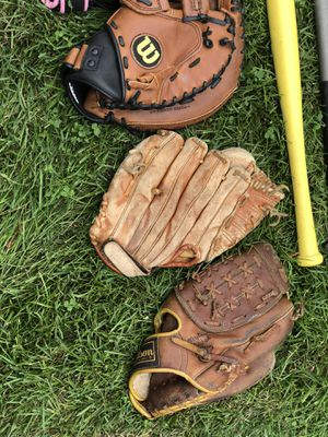 lot of baseball bats and gloves for Sale in Levittown, PA