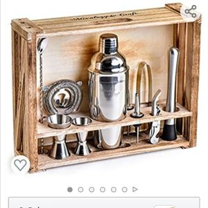 Silver Mixology Bartender Kit: 11-Piece Bar Tool Set with Rustic Wood Stand - Perfect Home Bartending Kit and Cocktail Shaker Set for Sale in Rowland Heights, CA