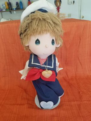 Vintage Precious Moments plush sailor 1985 Samuel J Butcher 15 inches tall with stand for Sale in Chandler, AZ