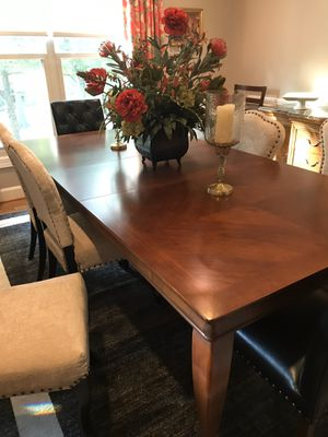 Mahogany dining room table and 6 like new chenille chairs. $600 for Sale in Lexington, KY
