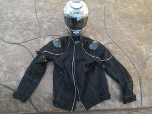 Shoei motorcycle Helmet Motorcycle Jacket both size small for Sale in Downey, CA