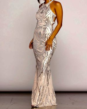 Formal Dress Blush with silver Sequins for Sale in Los Angeles, CA