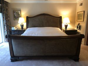 King bedroom Henredon Alfresco $15k set leather sleigh bed marble top 2 side tables chest for Sale in West McLean, VA