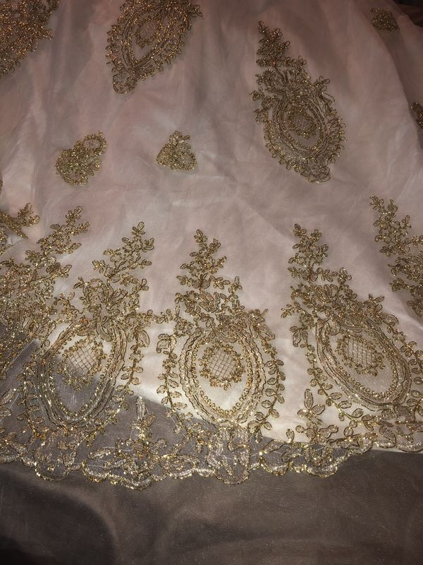 Ivory & Gold Wedding Gown, Size 12. $149 OBO
