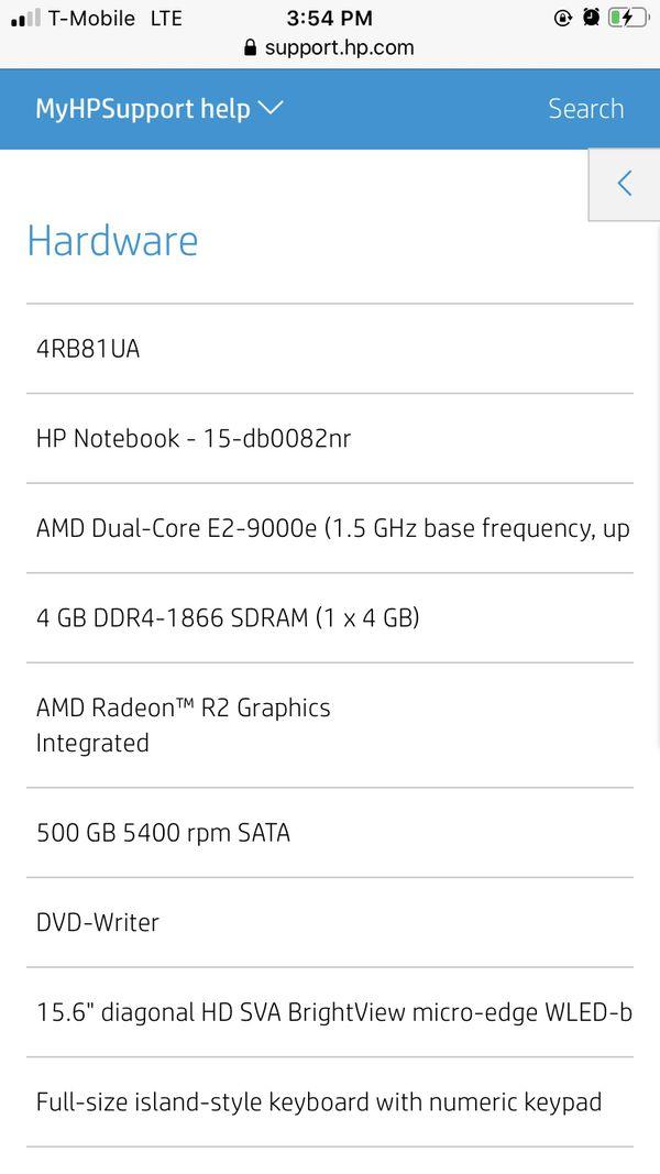 Hp notebook 15 inch AMD E2 4gb ram 500gb hard drive