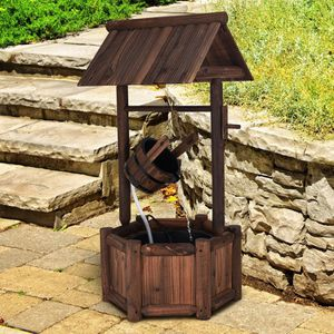 Solid Wood Wishing Well Barrel Rustic Country Water Fountain Fountain 4ft Electric Pump Included for Sale in Sacramento, CA