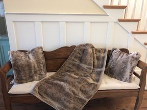 Pottery barn fur blanket and pillow covers for Sale in Snohomish, WA