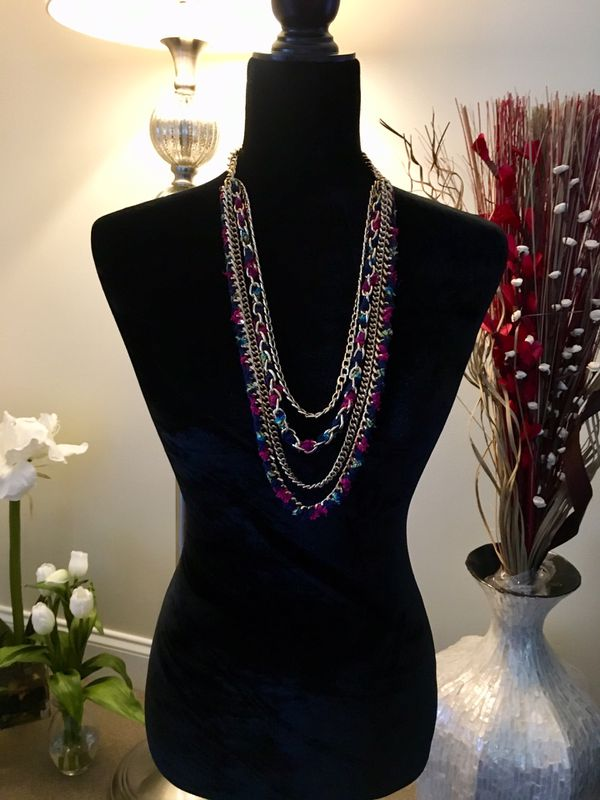 "32"" Gold Chain and Multi-Color Necklace"