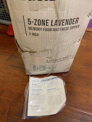 LUCID 2 Inch 5 Zone Lavender Memory Foam Mattress Topper for Sale in Walnut, CA