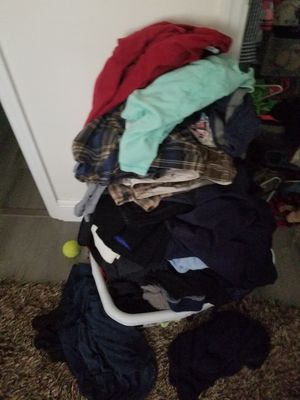 Free clothes size 11 work boots size sml women and a few mens clothes for Sale in Coral Springs, FL
