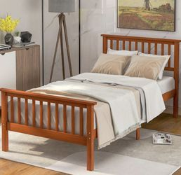 Merax Solid Wood Bed Frame with Headboard and Footboard NEW IN BOX RETAIL:$166 for Sale in Euclid,  OH