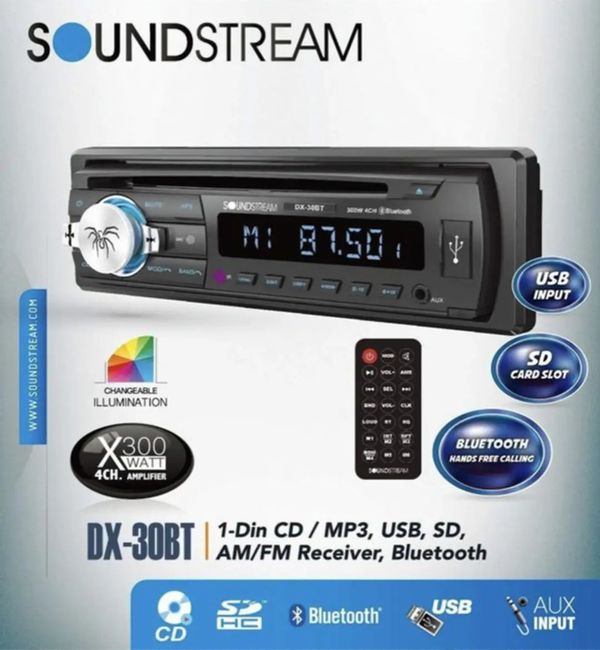 New Soundstream Car CD MP3 Player USB AUX SD Card Inputs Single DIN Stereo Receiver with Built-in Bluetooth Hands-Free Calling Music Streaming AM