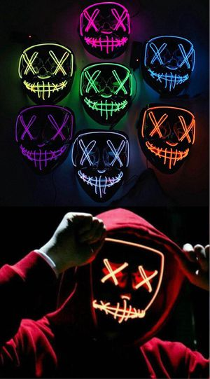New halloween costume mask cosplay rave party LED glow scary mask costume party orange pink green or white purge movie dance club 2 AA Battery Requir for Sale in Los Angeles, CA