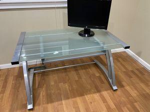 Glass Top Metal Frame Desk for Sale in Spokane, WA
