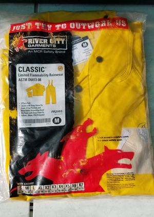 River City Flame Resistant Rain Suit, Jacket/Hood/Pants, 0.35 mm PVC/Poly, Yellow, Medium for Sale in Phelan, CA