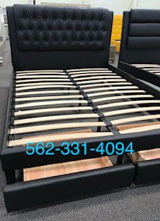 ⭐New Calking or King black tufted faux leather bed with drawers & New Supreme orthopedic medium firm mattress included⭐ for Sale in Fresno, CA